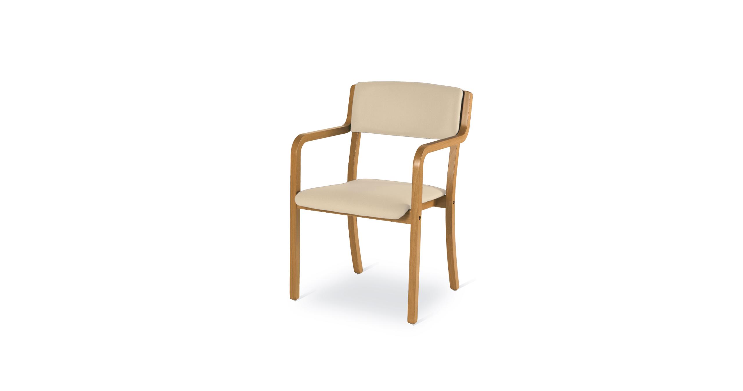 Sedia in legno multistrato di faggio impilabile con sedile e schienale imbottiti e pleta di braccioli le sue caratteristiche peculiari sono